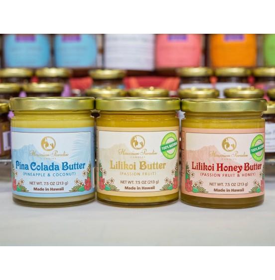 BUTTERS, Lilikoi, Lilikoi Honey, Mango, Haupia, Guava, Pina Colada